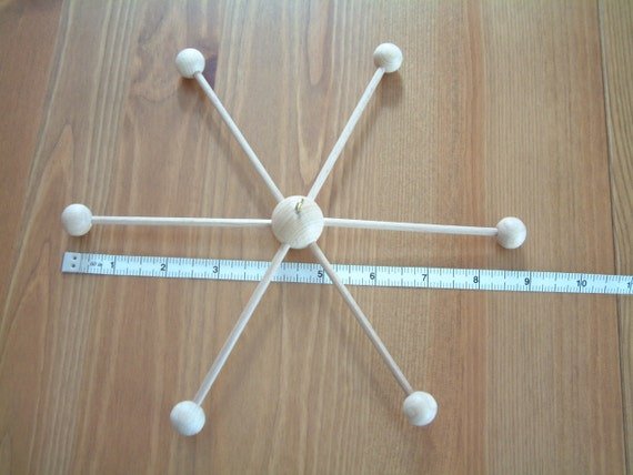Little mobile hanger, wooden, unpainted, for hanging decor, frame, base. Size small...23 cm almost 9 inches wide.