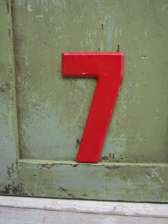 Vintage Metal Number 7 Seven Red Chippy Painted Sign Antique Marquee  Metal