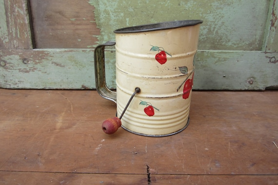 Rustic Old Metal Flour Sifter Country Kitchen Gadget for Decor Cream and Red Apples