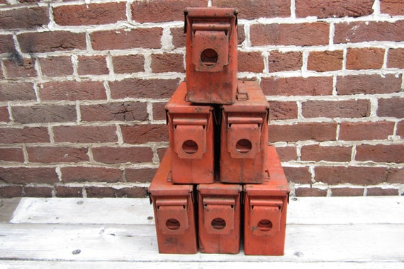 RESERVED for Marguerite 3 Antique Army Orange Metal Ammo Bin or Industrial Storage Container Metal Storage Locking Box