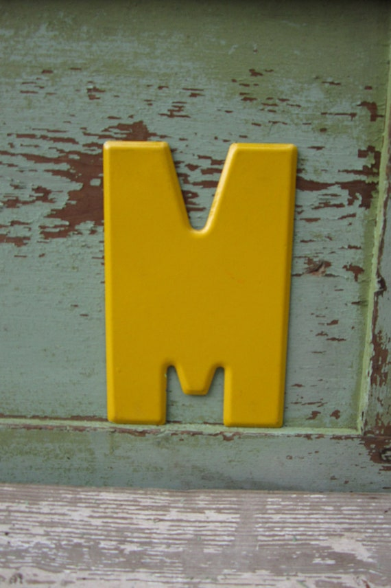 Vintage Metal Chippy Letter M Yellow Sign Painted Antique Marquee Rusted Metal