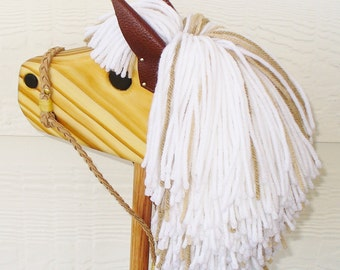 Stick Horse - Hobby Horse - Waldorf Wooden Toy - Stick Pony - Light Colored Mane