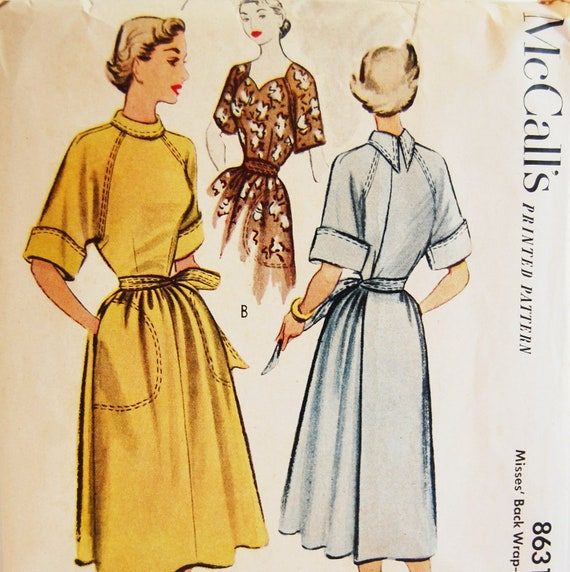 """Vintage 1951 McCall's Misses' Back Wrap-Around Dress Pattern 8631 Size 12 (30"""" Bust)"""