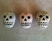 Día de los Muertos skull furniture knobs, Day of the Dead skull knob set of 3