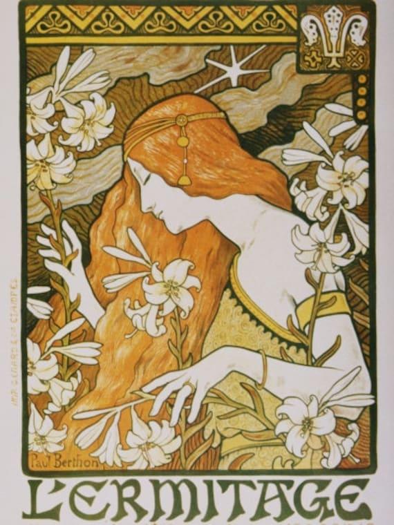 Wall Decor Art Nouveau L Ermitage Print By Paul Berthon