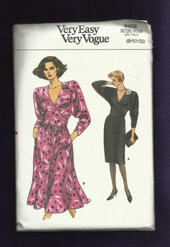 Vintage 1986 Vogue 9458 Deep V Neck Dress With Shoulder Pads UNCUT Size 8,10,12
