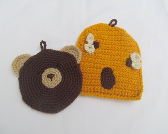 Bear and Beehive Potholders/Trivets