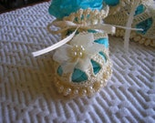 Pearl and Crochet Baby Booties / Shoes / Cream / Photos / Christening / Baptism