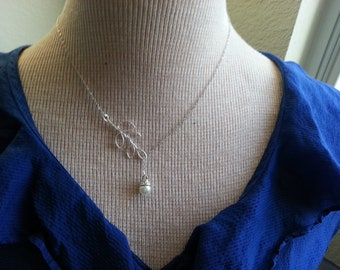 Leaf Branch with Pearl Lariat Necklace
