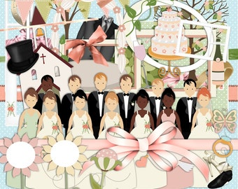 Wedding scrapbook, Bridal scrapbook, Marriage Scrapbook,  Bride scrapbook, Groom scrapbook, Digital scrapbook, Journal Clipart,