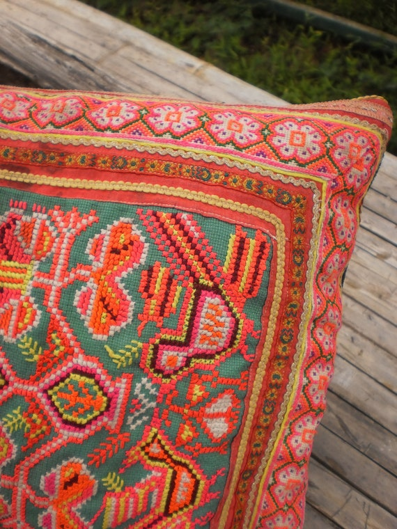 Hmong Hilltribe Vintage Upcycled HandMade Cushion Cover Made From Embroided Hmong Ap