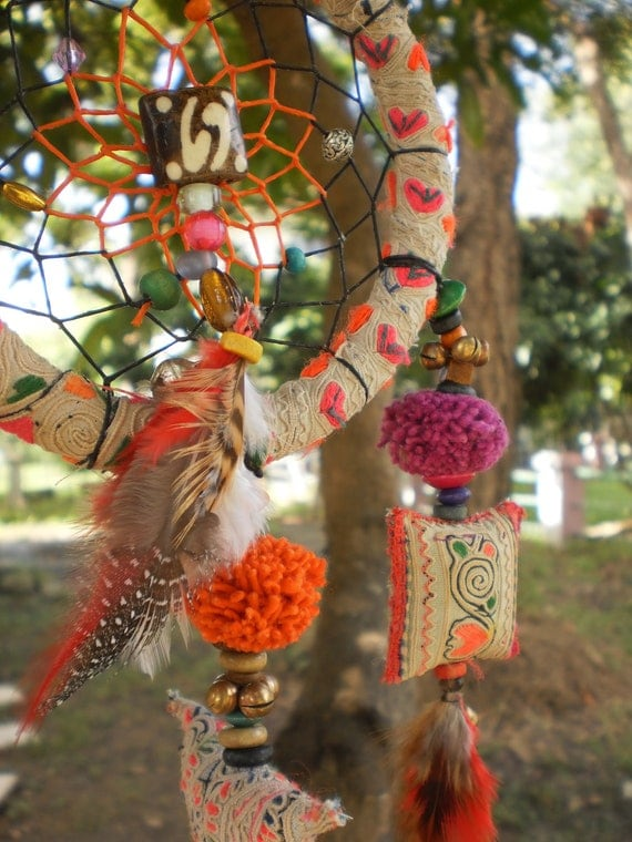 Dream Catcher Handmade with Tribal Hmong Textiles, Beads, Bells, Feathers, Wax Linen and Magic