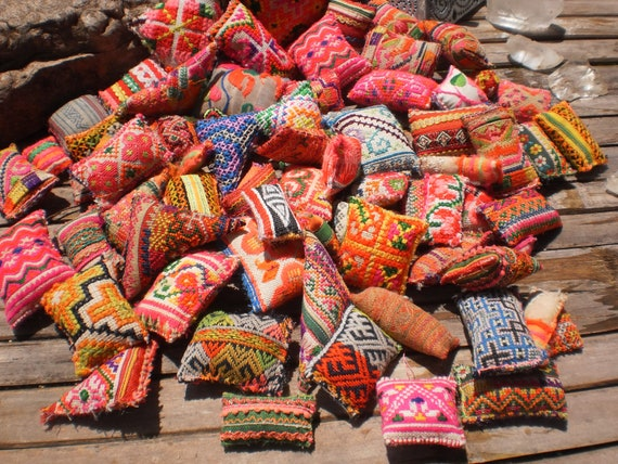 50 Textile Pockets HandMade with Upcycled Hmong Hilltribe Embroidery (More Than 50)
