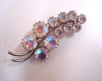 Fascinating Vintage Rhinestone Brooch Jeweled Pin Austrian Crystal Antique
