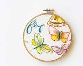 Butterfly embroidery hoop decor / nature inspired / blue hand embroidery / cursive writing / fresh summer pastel - makenziandmadilyn