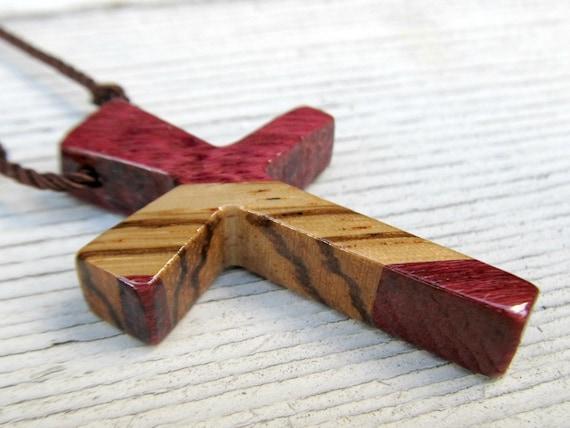Mens Cross Necklace - African Zebrawood & Brazilian Purpleheart