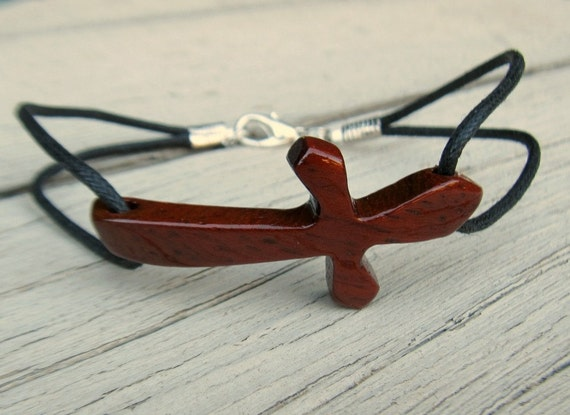 Wood Cross Bracelet - African Paduak - Plus Size - Unisex