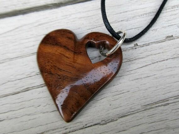 Wood Heart Necklace - Walnut Hardwood - Women's Jewelry
