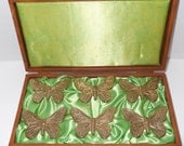 Vintage Napkin Rings With Storage Box / Butterfly Napkin Rings / Brass Napkin Rings