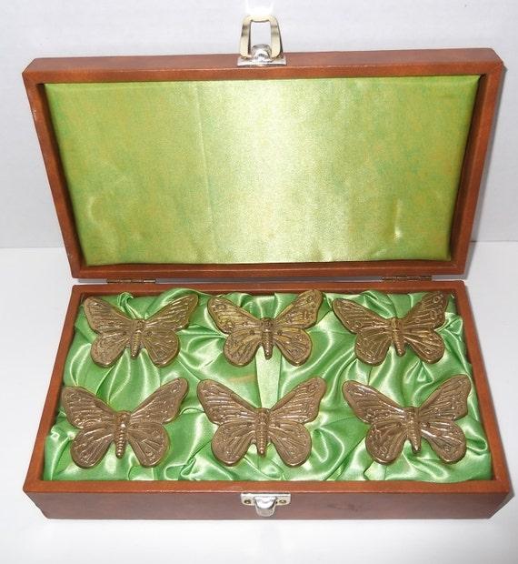 Vintage Napkin Rings With Storage Box / Butterfly Napkin Rings / Brass Napkin Rings