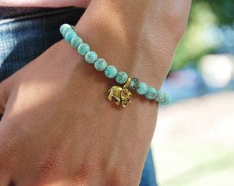 Teal Magnesite Elephant Bracelet