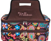 Personalized Casserole Carrier Double Insulated Brown Whimsical Embroidered