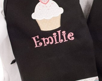 Monogrammed Kids Cupcake Apron - Personalized with Child's name