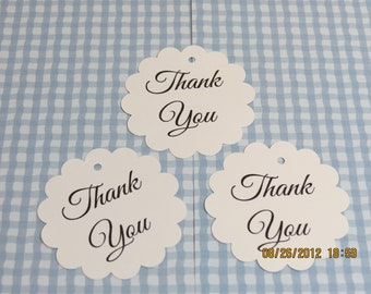 """Tags & Ties - 2"""" Round Scalloped """"Thank You"""" Tags/Labels"""