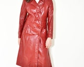1970s Midi Faux Leather Coat in Deep Wine Belted