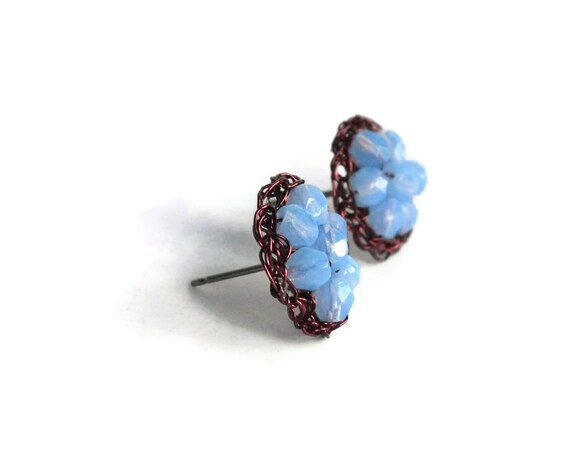 Hand Crochet Amber Wire and Blue Czech Glass Stud Earrings by PrayerMonkey
