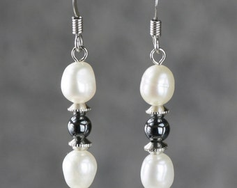 Pearl drop beaded white black drop earrings Bridesmaid gifts Free US Shipping handmade Anni designs