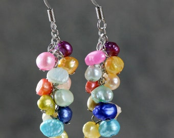 Colorful rainbow pearl dangling chandelier earrings Bridesmaid gifts Free US Shipping handmade Anni Designs