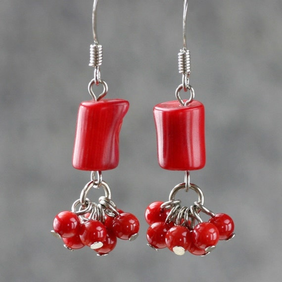 Red Designer Chandelier Earrings: Red Coral Dangling Chandelier Earrings Bridesmaids Gifts Free