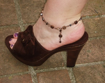 Copper Anklet - Beaded Copper Coin Beads and Black Cubes on Adjustable Anklet