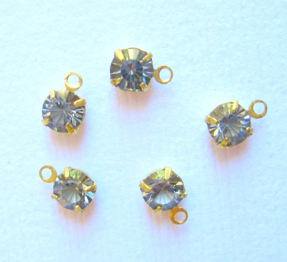 Black Diamond Crystal 10 drops- dangles Crystal round prong-set 1 ring open back drops 4mm- Qty 10 drops - jewelry supplies - crystal brass