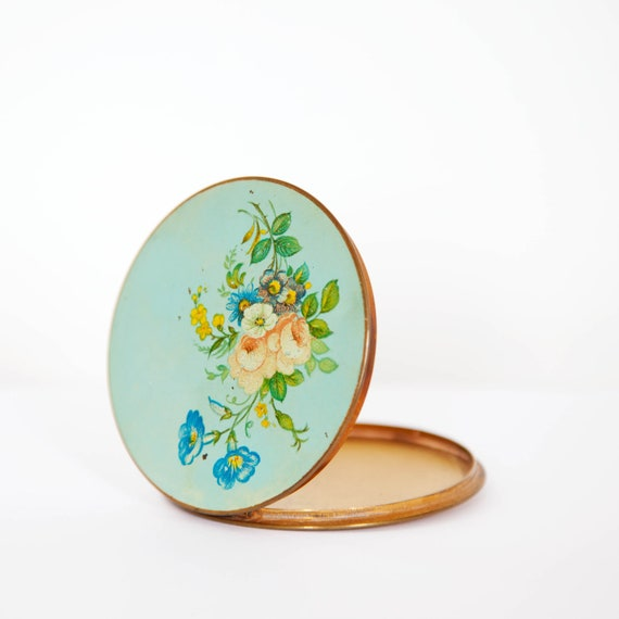 Vintage Stratton Mirror Compact, Mint Green Lid With Floral Design, Circa 60s