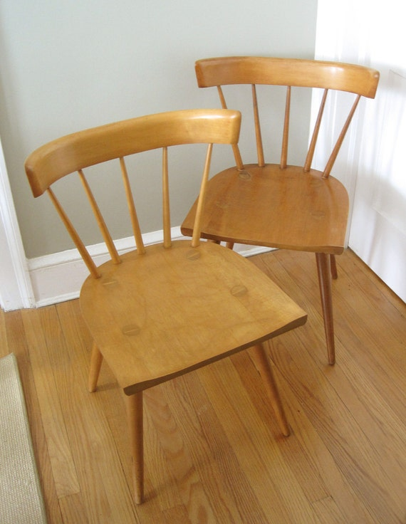Pair of Vintage Paul McCobb Chairs, Planner Group, Modern Windsor Chairs, Featured in Elle Decor