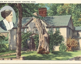 Vintage Linen Postcard The Alcott House Concord Mass Inset Louisa May Alcott
