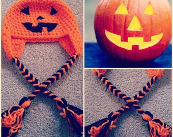 Crochet Jack O' Lantern Beanie