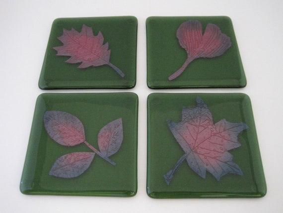 Green Fused Glass Coasters with Copper Etched Leaves (Set of 4)