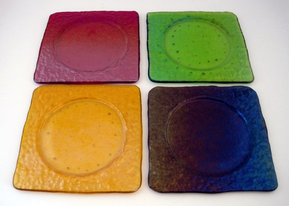 Fused Glass Coasters in Autumn Iridescent Colors (Set of 4)
