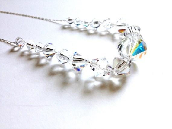 25% OFF - Crystal Wedding Necklace - graduating crystals, barely there sterling silver chain - gift for her, wedding, bride, bridal party