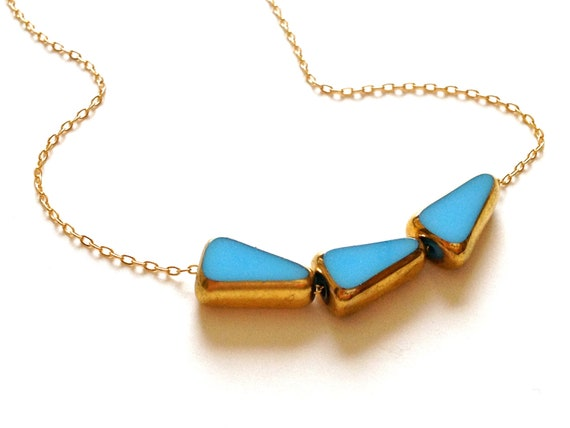 Blue and Gold Triangles Necklace // something blue retro wedding // LilahV