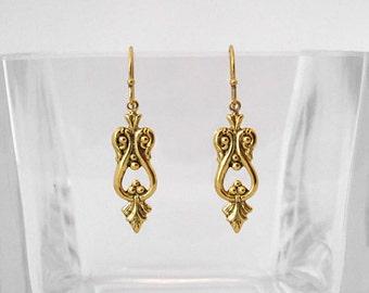 Victorian Etruscan Scroll Dangle Earrings