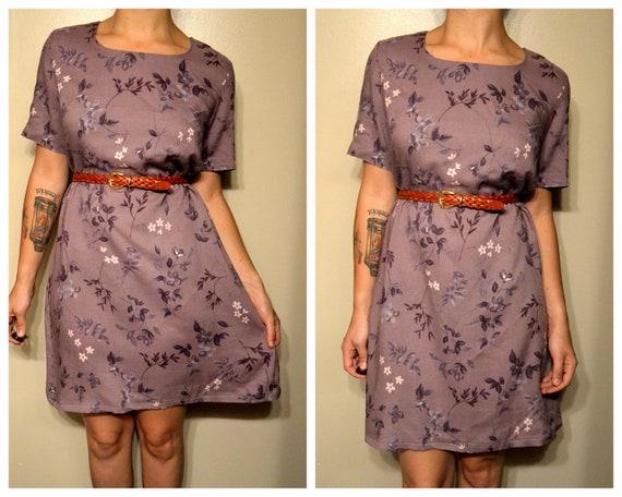 Vintage Purple Floral Print Hipster Summer Dress