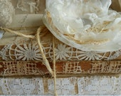 On Sale ......  Wedding Centerpiece Vignette Vintage 3 Book Stack Lace Shabby Chic Rustic with flower brooch