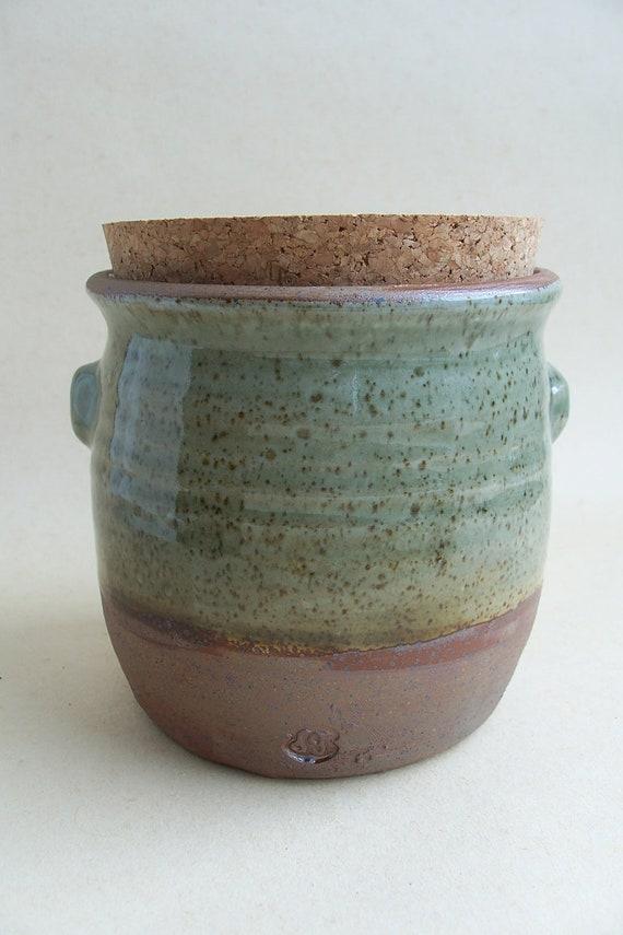 Stoneware storage jar, with cork lid.