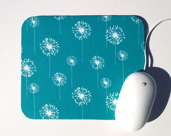 Mouse Pad / Dandelion Turquoise Teal and White / Home Office Decor