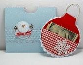 Christmas card oranment money holder