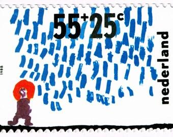 1988 Nederlands 55 & 25 Kinderpostzegel Stamp with Card, Netherlands Kinderpostzegelactie